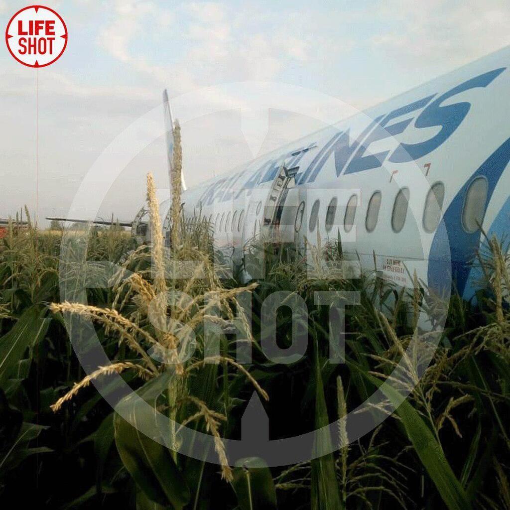 Літак, що летів до Криму, загорівся і сів посеред поля: десятки постраждалих