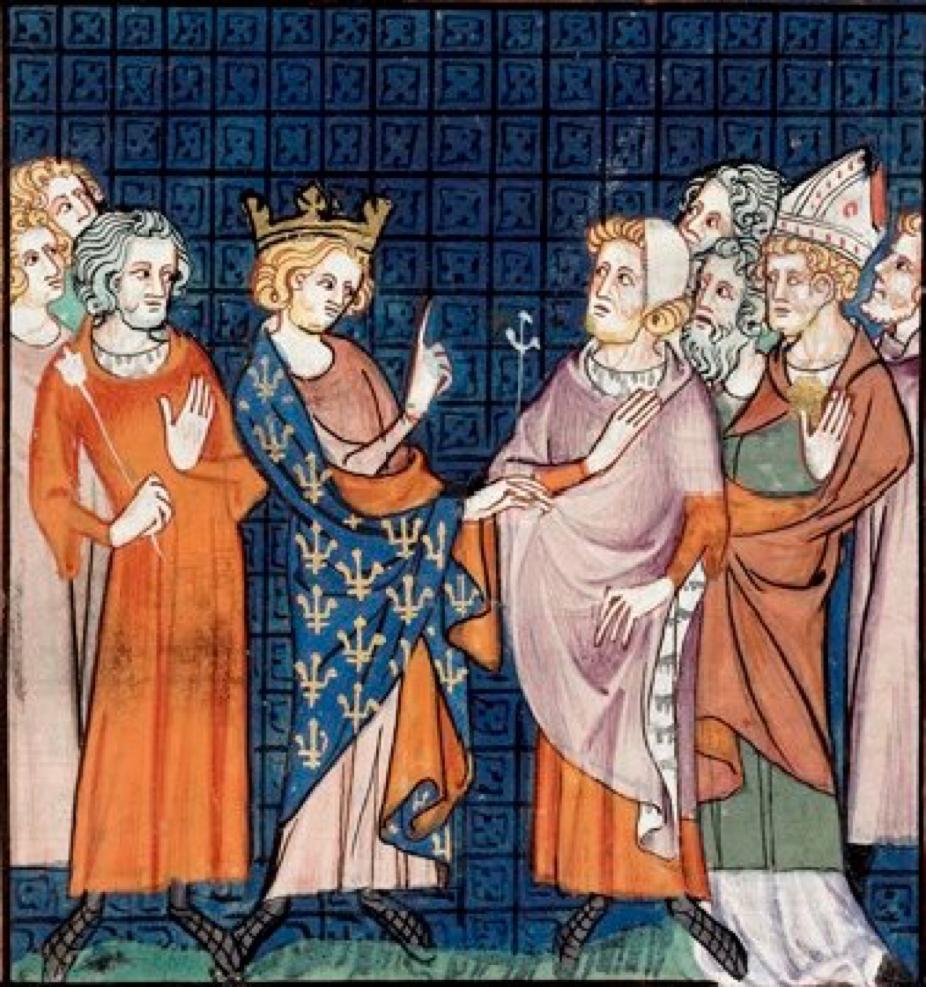 Святий Арнульф на церковному соборі. Малюнок із середньовічного рукопису