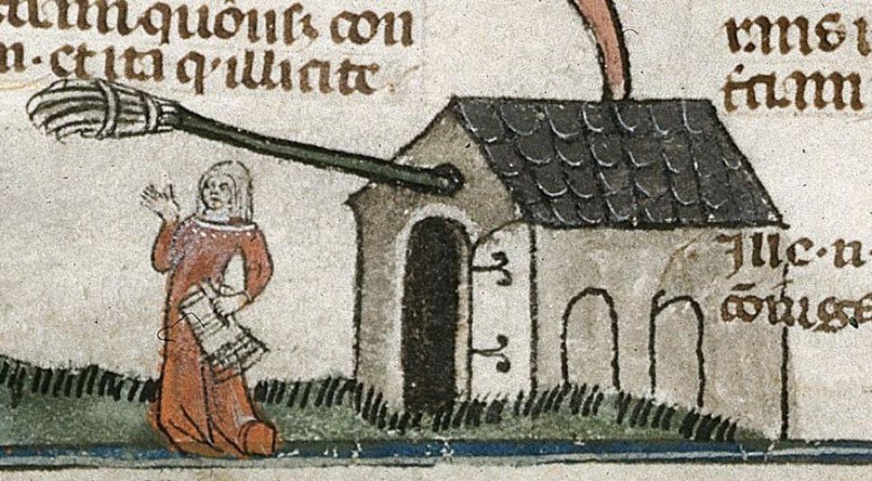 Броварка перед своїм будинком. Малюнок із середньовічного рукопису
