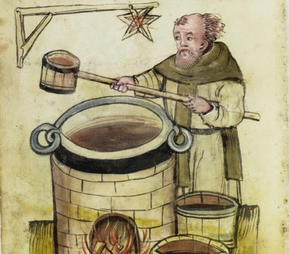 Монах, що варить пиво. Малюнок із середньовічного рукопису