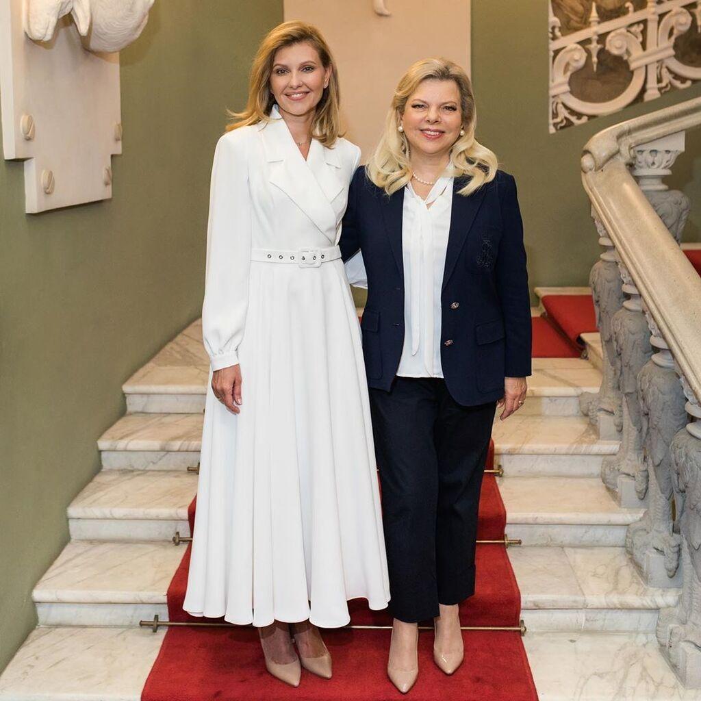 Вбрання Олени Зеленської на зустрічі з Сарою Нетаньягу