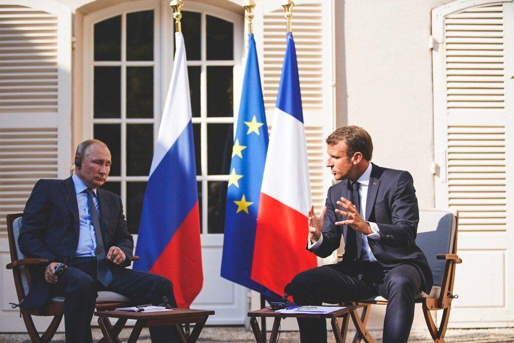 Макрон на встрече с Путиным 19 августа