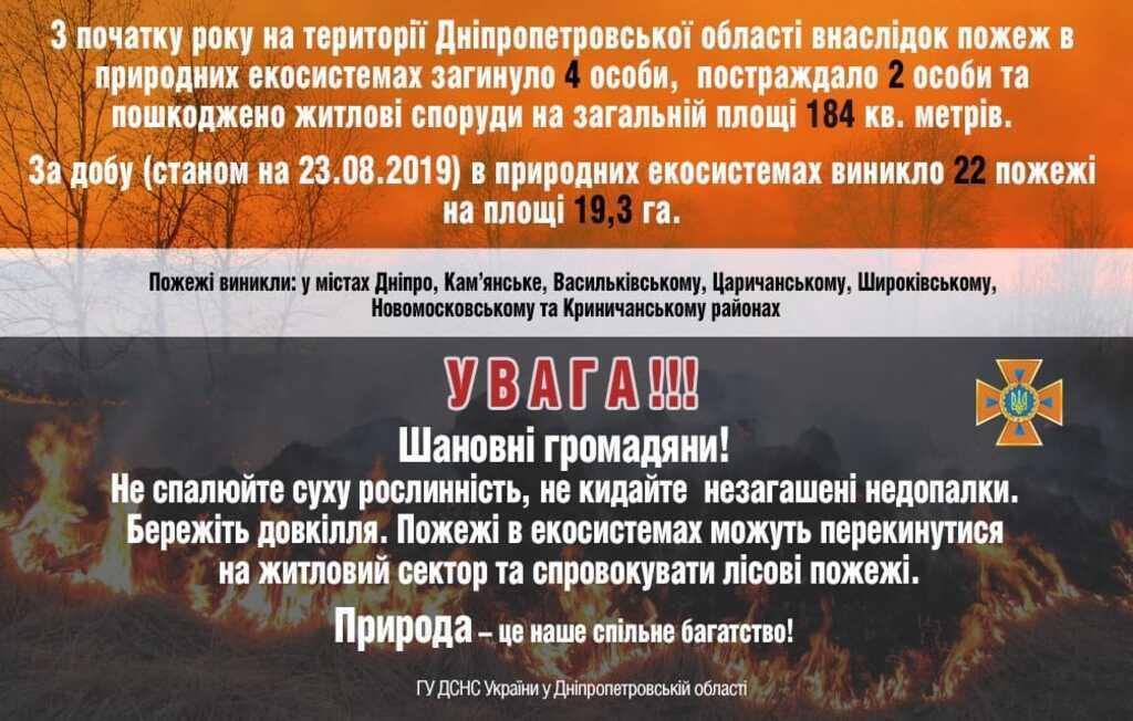 ГСЧС Дніпропетровської області попереджає