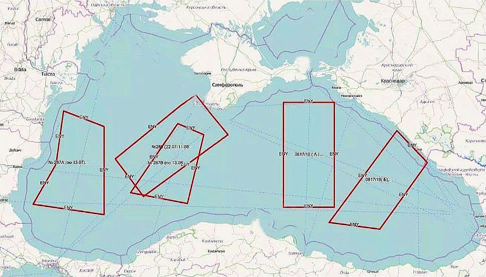 РФ перекрила вже п'ять районів Чорного моря