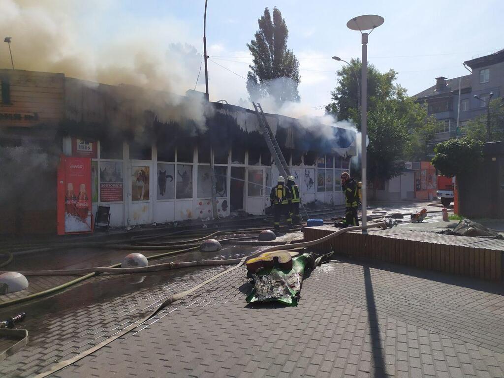 Пожар в Киеве около станции метро