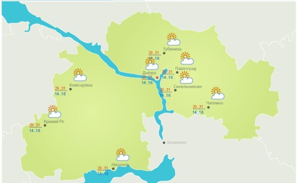Погода у Дніпропетровській області на 2 вересня