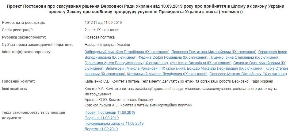 Закон Зеленского об импичменте внезапно заблокировали