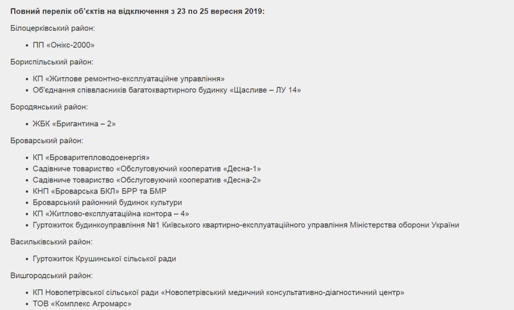Отключение света на Киевщине