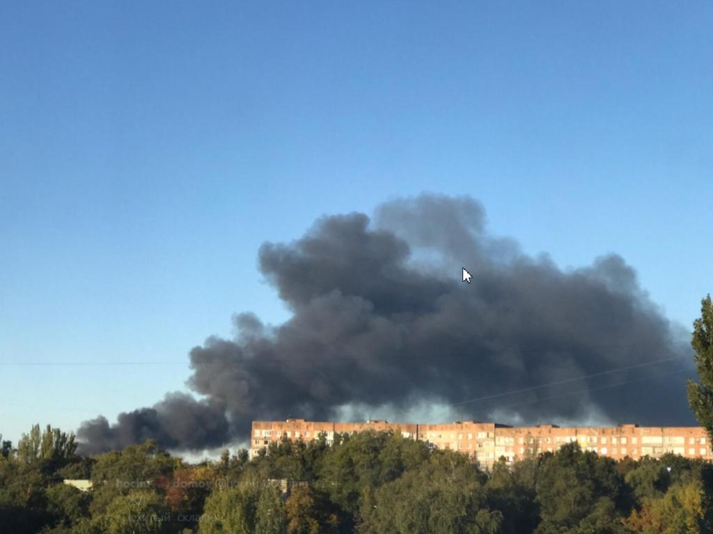 Пожежа на складі боєприпасів у Донецьку