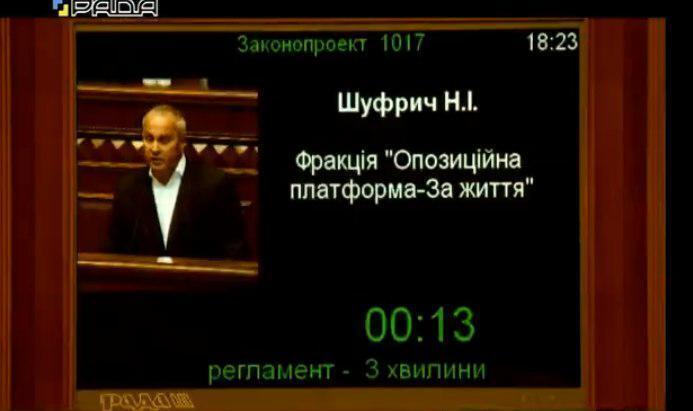 Шуфрич выступил за 225 нардепов в Раде