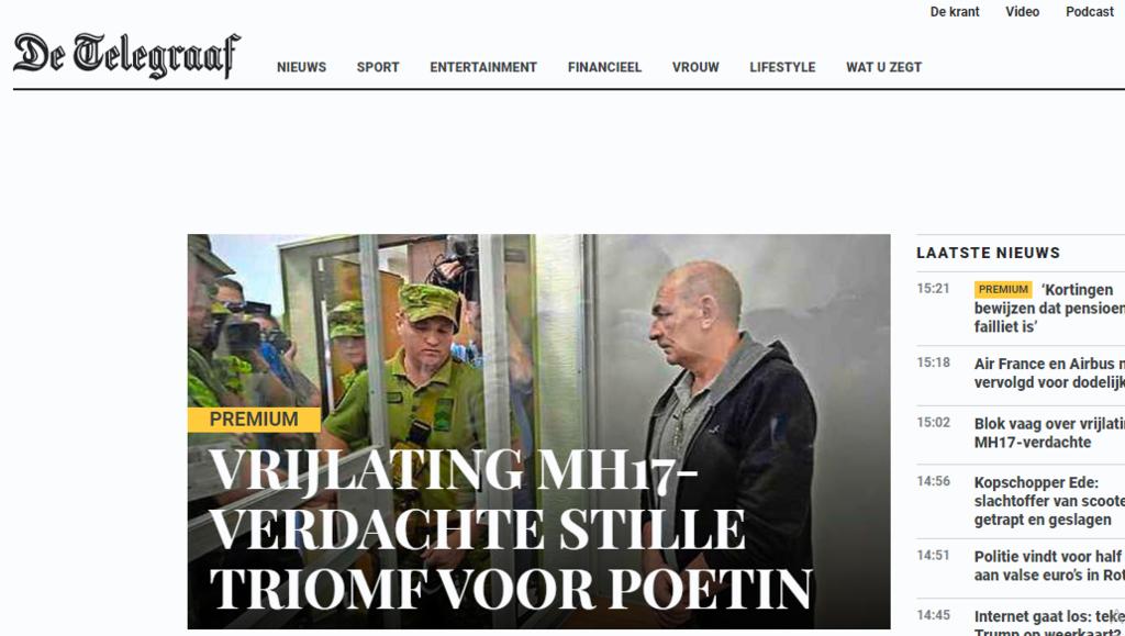 Стаття в газеті De Telegraaf