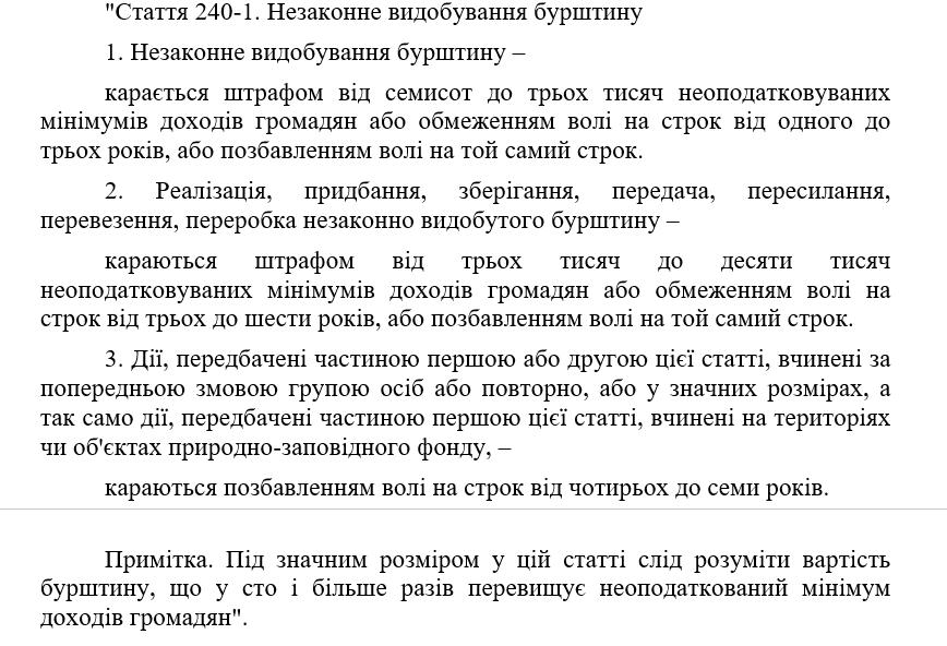 Поправки до Кримінального кодексу щодо бурштину