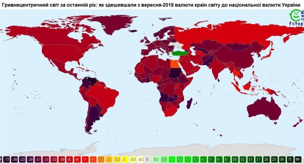 Гривня стала второй в рейтинге валют, которые больше всего укрепились за последний год