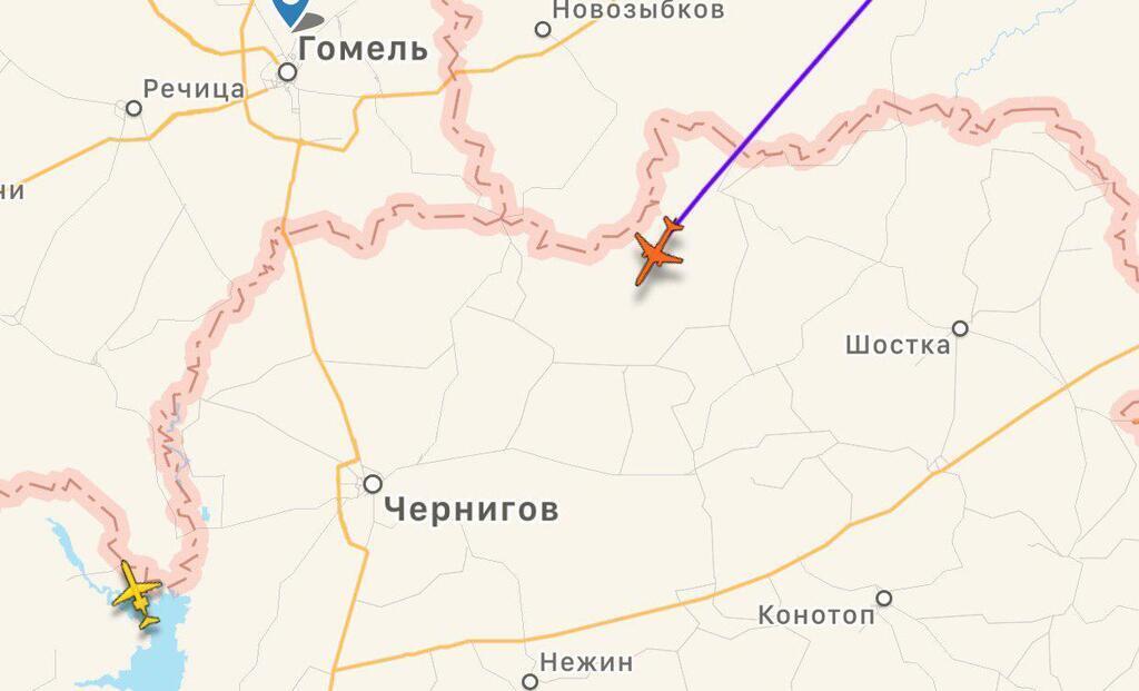 Самолет пересек границу