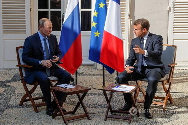 Путин и Макрон на недавней встрече в Марселе