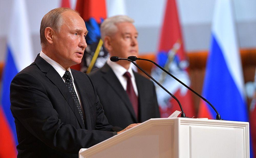 На урочистій церемонії вступу Сергія Собяніна на посаду мера Москви. 2018 р.
