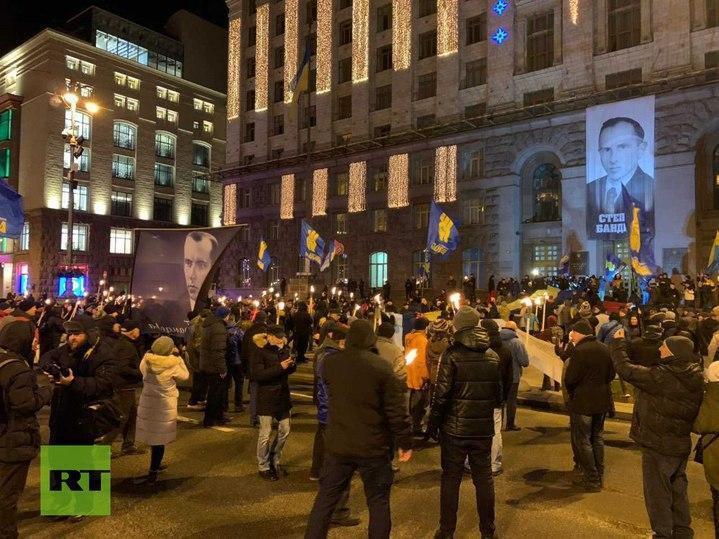 Шествие в Киеве в честь дня рождения Бандеры