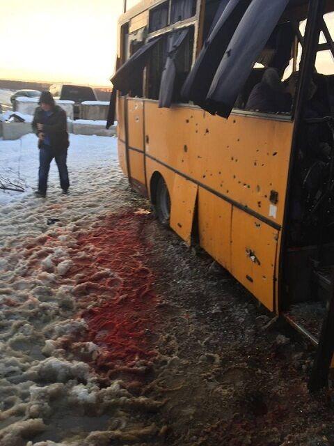 Автобус, що потрапив під обстріл терористів