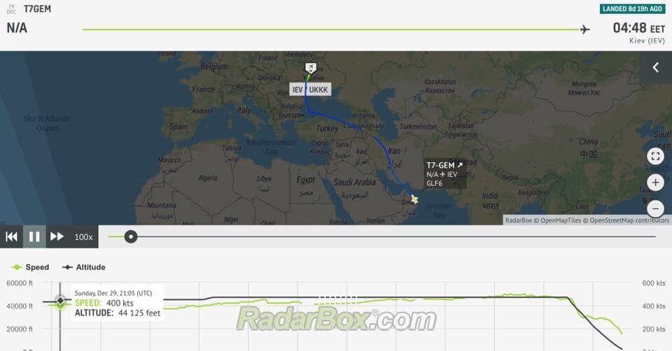 Самолет Медведчука летит в Оман