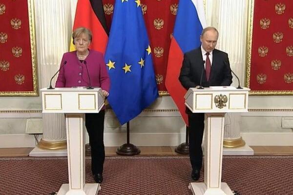 Встреча Путина и Меркель в Москве 11 января