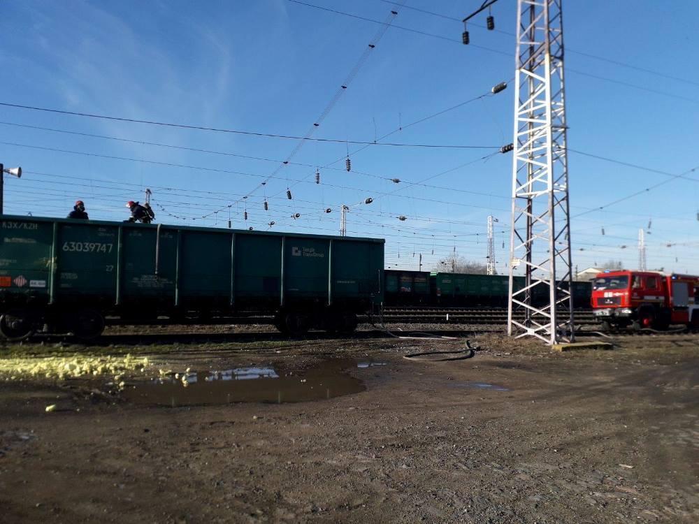 На Одесщине задымился вагон с 50 тоннами серы