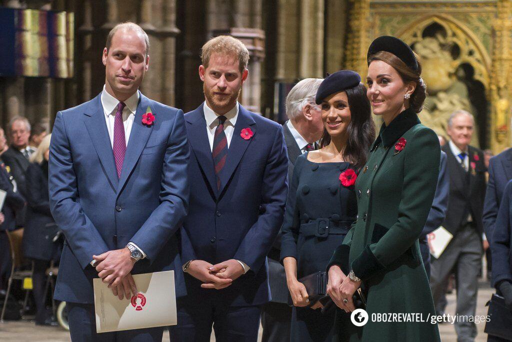 Принц Вільям, принц Гаррі, Меган Маркл і Кейт Міддлтон