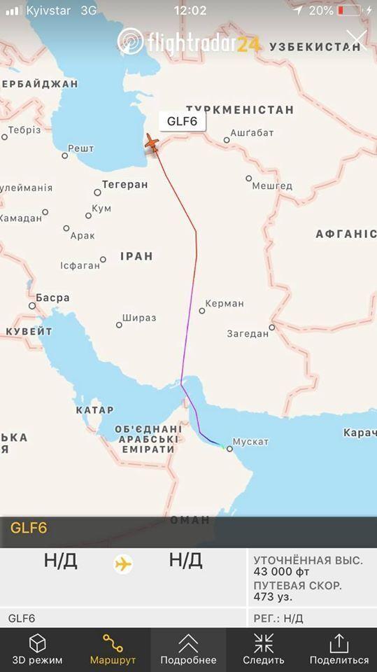 Літак, яким користується Медведчук, о 12:02 перелетів Іран