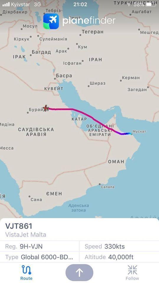 Літак із Зеленським ввечері летів над Саудівською Аравією