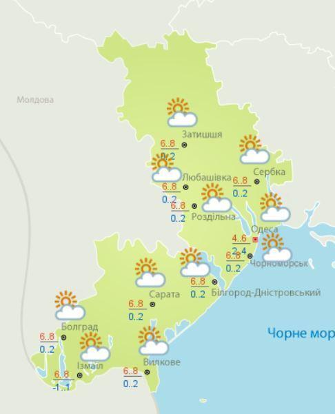 Синоптики дали прогноз погоды в Одессе на 16 января