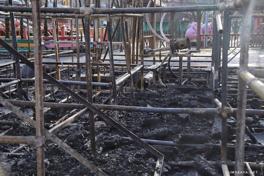 В Одессе мощный пожар вспыхнул в детском парке