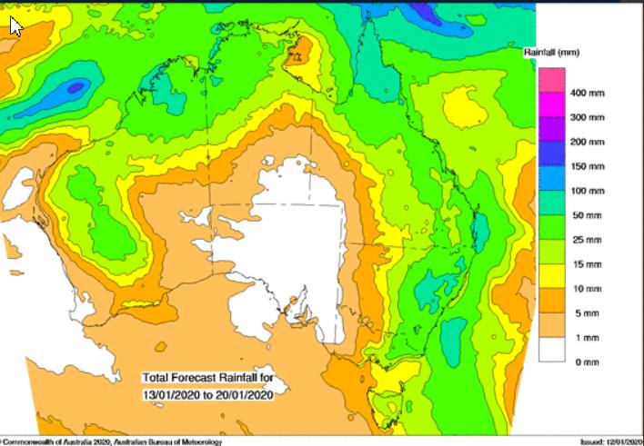 Прогноз метеорологов касательно осадков в Австралии