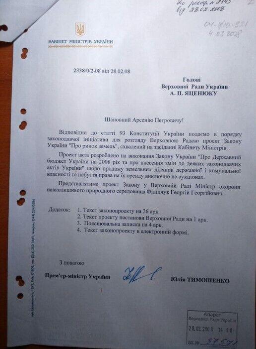 Проєкт закону про ринок землі, 2008 рік