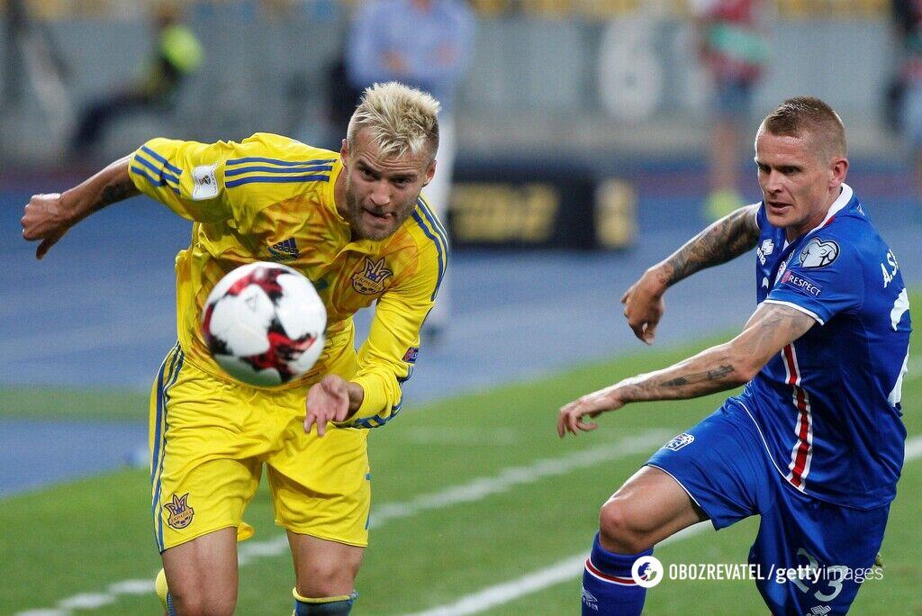 Андрій Ярмоленко (ліворуч) в матчі проти Ісландії на старті кваліфікації ЧС-2018