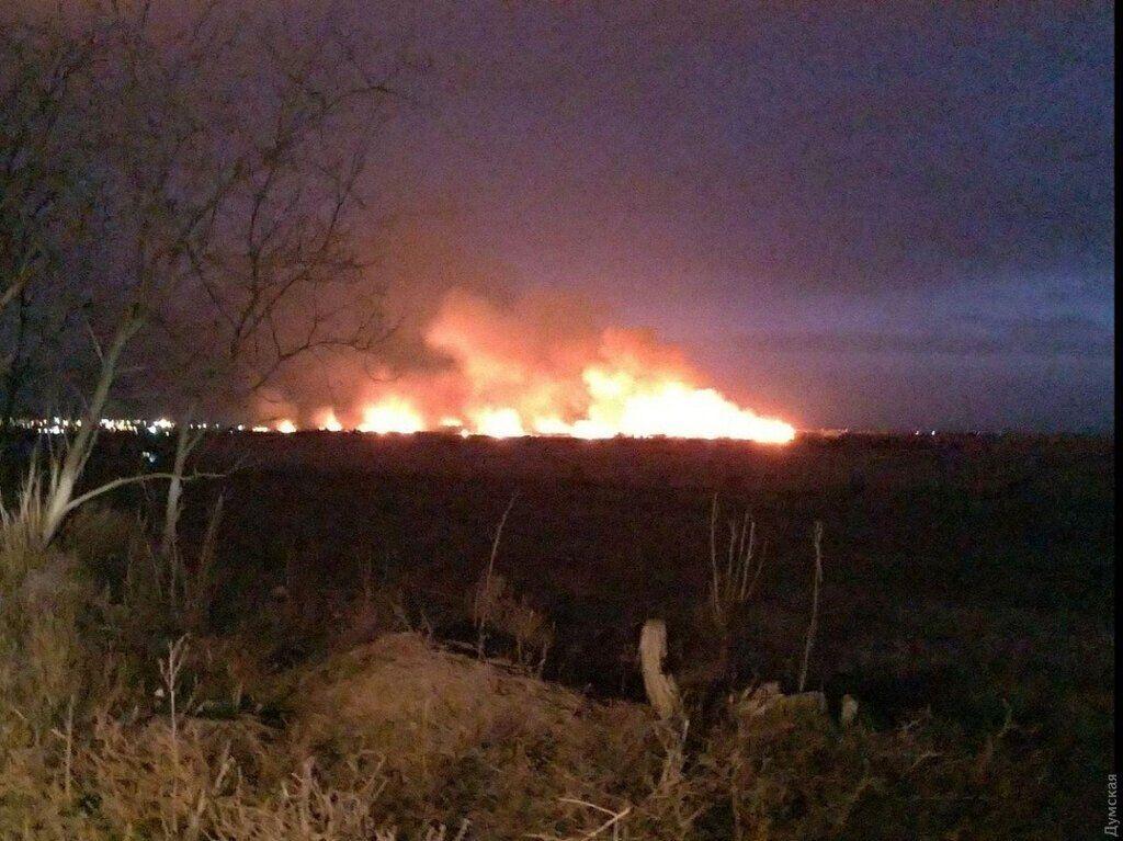 Масштабна пожежа під Одесою