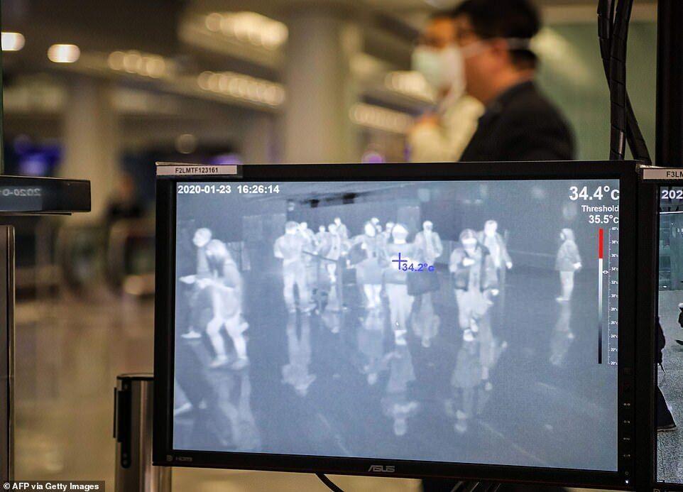 Екран показує температуру тіла пасажирів, які прибувають до міжнародного аеропорту Гонконга