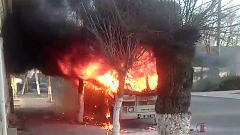 На Одесщине загорелся автобус с бойцами Нацгвардии