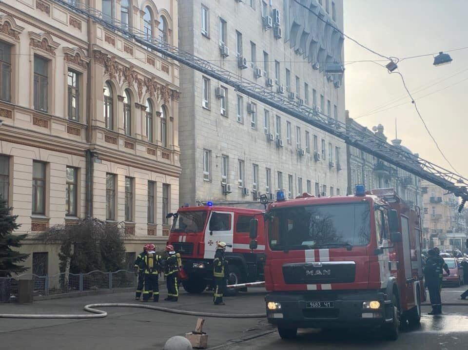 В Киеве 27 января вспыхнул пожар в здании Министерства культуры, молодежи и спорта Украины