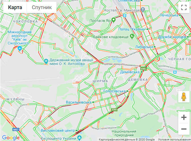 Карта заторів у Києві