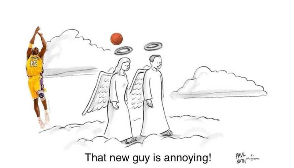 Карикатуру с Коби Брайантом на небесах назвали лучшей