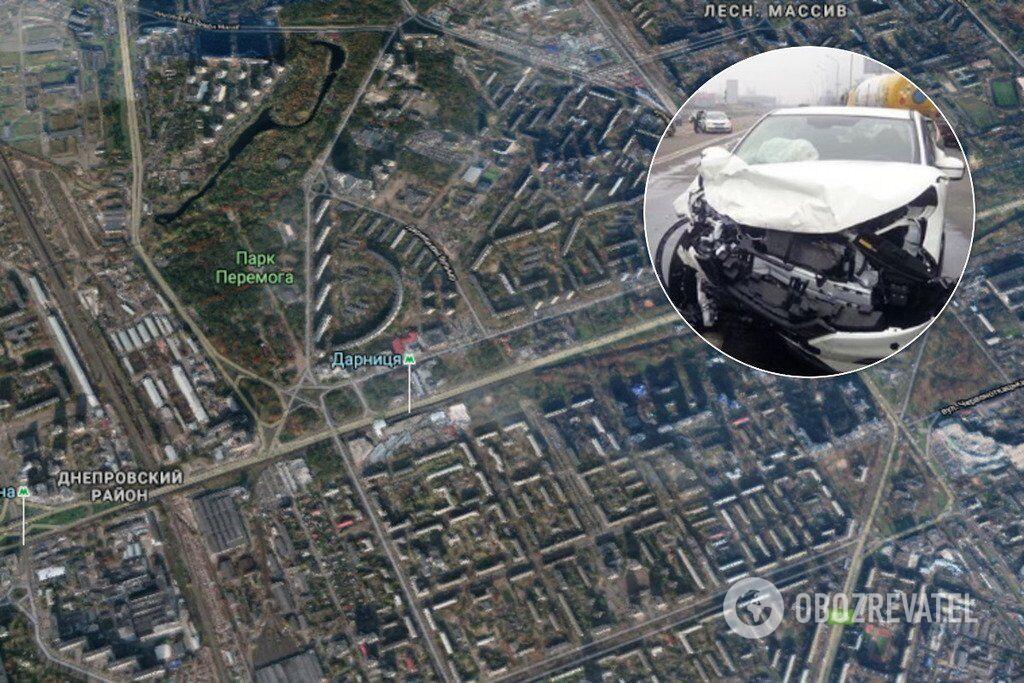 "Авария произошла на Броварском проспекте, недалеко от станции метро ""Дарница"""