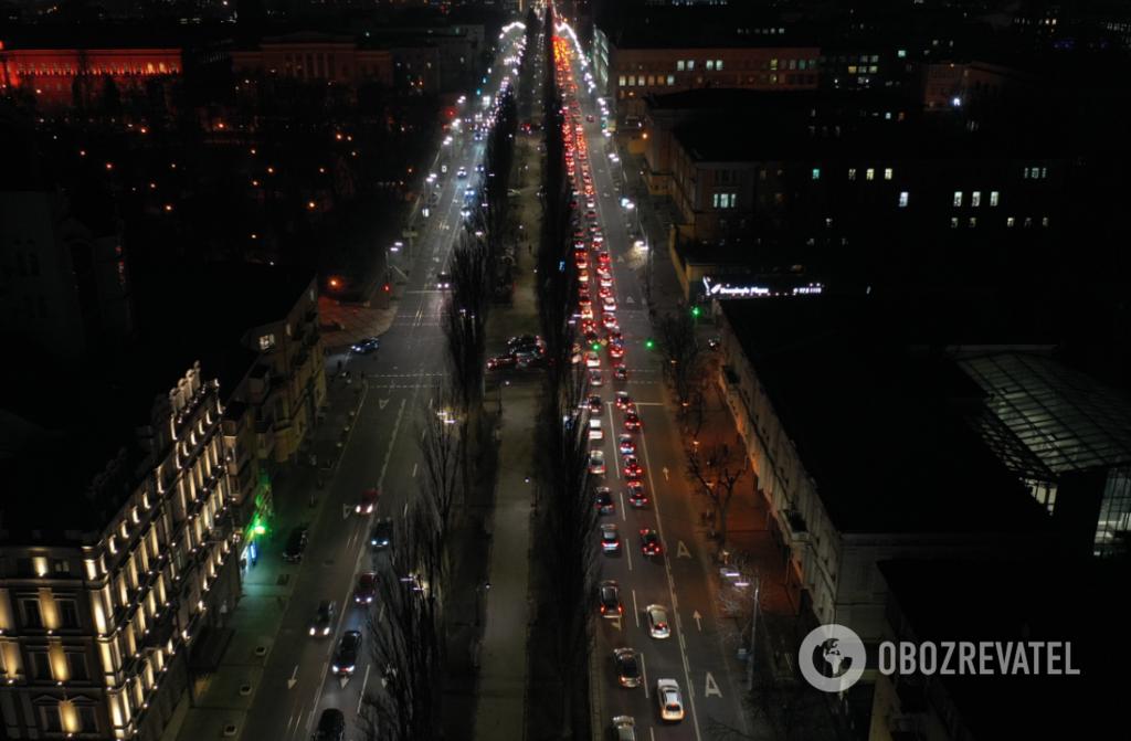 Затор на бульваре Тараса Шевченко