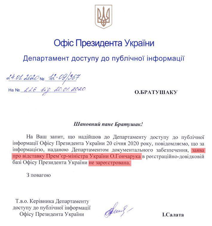 Відповідь ОПУ з приводу заяви Гончарука