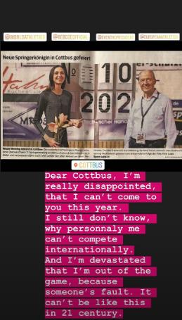 Марія Ласіцкене повідомила про те, що не зможе брати участь в змаганнях у себе в Instagram