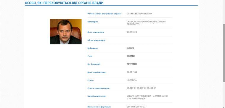 Профайл Клюева в базе МВД