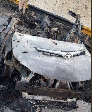 Обломки уничтоженного автомобиля, в котором перемещался Сулеймани