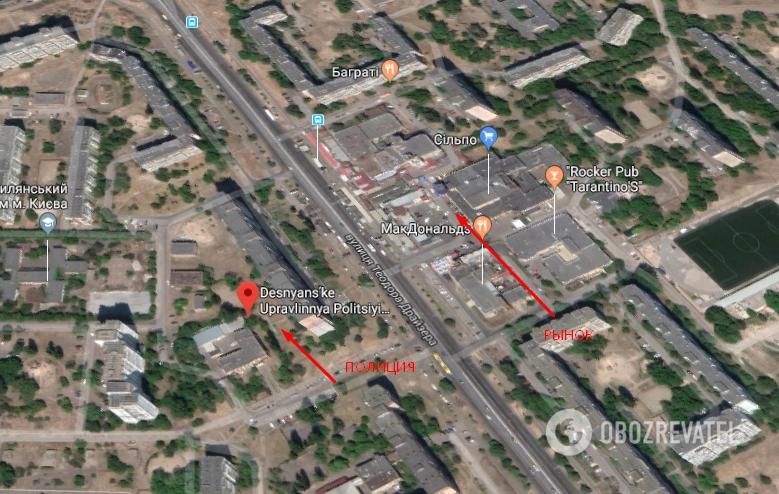 Деснянское райуправление полиции расположено через дорогу от рынка - на ул. Драйзера, 9-б