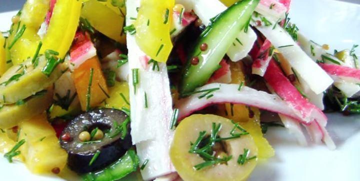 Салат из крабовых палочек без майонеза
