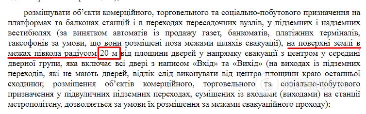 """В радиусе 20 м от выхода станции запрещено размещать объекты коммерческого, торгового и социально-бытового назначения.  Это регулирует Закон Украины """"О пожарной безопасности"""", Государственно-строительные нормы, приказ Мининфраструктуры Украины"""