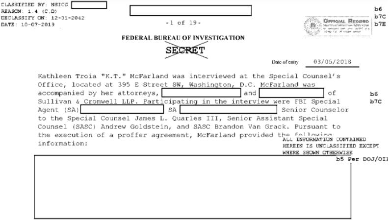 Часть засекреченного документа, в котором идет речь о Трампе