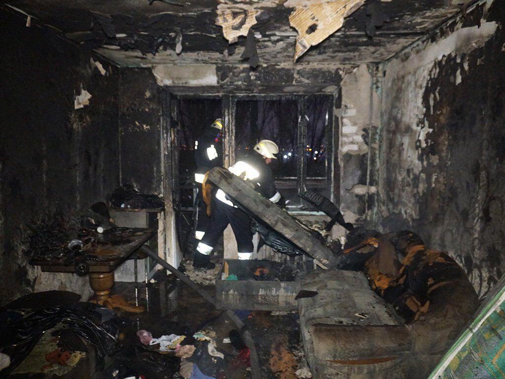Пожар в девятиэтажном доме